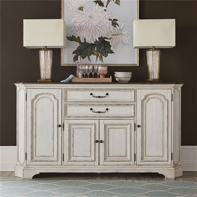 Abbey Road Hall Buffet in Porcelain White Finish with Churchill Brown Tops by Liberty Furniture - 455W-HB7642