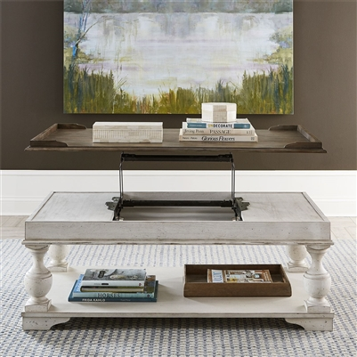 Abbey Road Lift Top Cocktail Table in Porcelain White Finish with Churchill Brown Tops by Liberty Furniture - 455W-OT1010