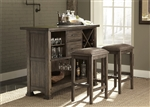 Stone Brook 3 Piece Bar Set in Rustic Saddle Finish by Liberty Furniture - 466-DR-3BAR