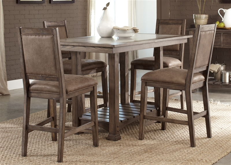 Stone Brook 5 Piece Gathering Counter Height Table Set in Rustic Saddle  Finish by Liberty Furniture - 466-DR-5GTS