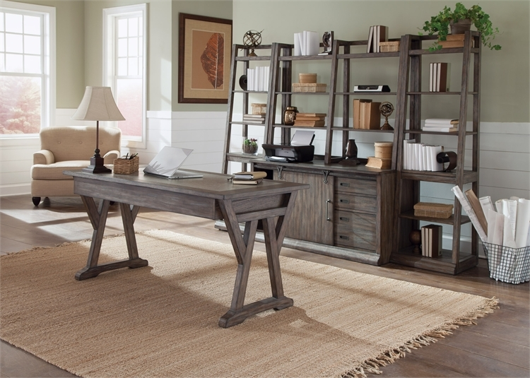 Stone Brook Jr Executive Desk In Rustic Saddle Finish By