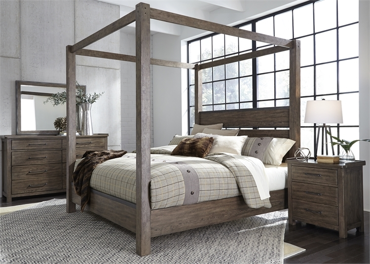 Sonoma Road Canopy Bed In Weather Beaten Bark Finish By