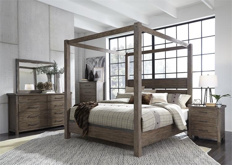 Sonoma Road Canopy Bed 6 Piece Bedroom Set in Weather Beaten Bark ...