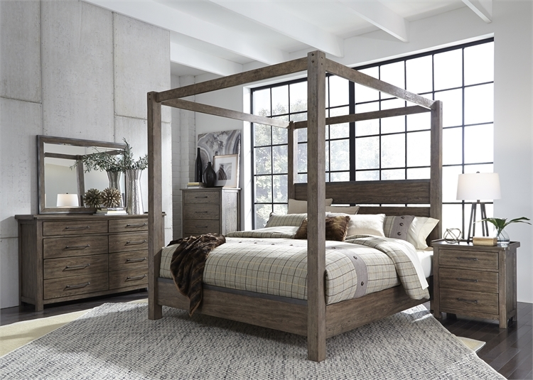 Sonoma Road Canopy Bed 6 Piece Bedroom Set in Weather Beaten Bark Finish by  Liberty Furniture - 473-BR-QCBDMN
