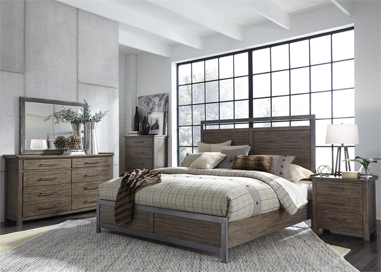 Sonoma Road Panel Bed 6 Piece Bedroom Set In Weather Beaten