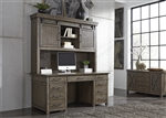 Sonoma Road Credenza and Hutch in Weather Beaten Bark Finish by Liberty Furniture - 473-HO-CHS