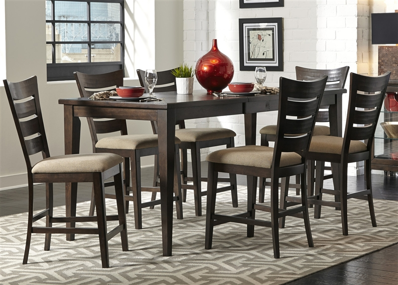 Pebble Creek Gathering Counter Height Table 5 Piece Dining Set In Weathered Tobacco Finish By Liberty