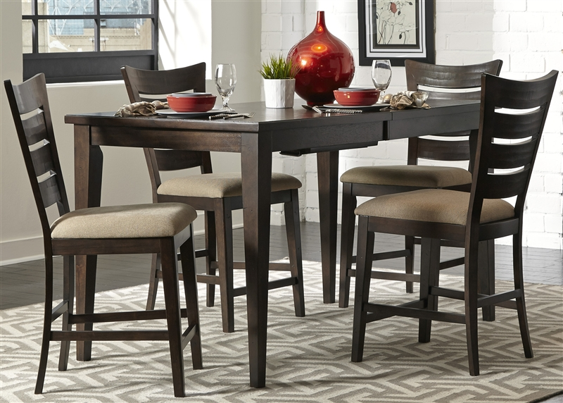 Pebble Creek Gathering Counter Height Table 5 Piece Dining Set In Weathered Tobacco Finish By Liberty Furniture