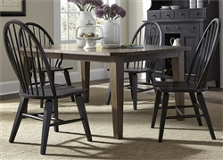 Hearthstone 5 Piece Oak Rectangular Leg Table with Black Windsor Chairs by Liberty Furniture - 482-DR-5RLS