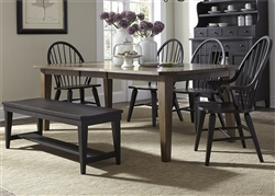 Hearthstone 6 Piece Oak Rectangular Leg Table with Black Windsor Chairs by Liberty Furniture - 482-DR-6RTS