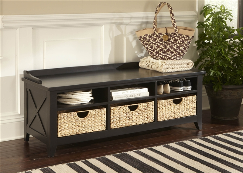 Hearthstone Cubby Storage Bench In Rustic Black Finish By Liberty Furniture    482 OT47
