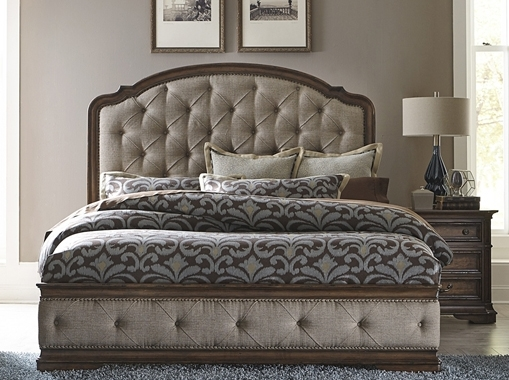 Amelia Upholstered Bed in Antique Toffee Finish by Liberty ...