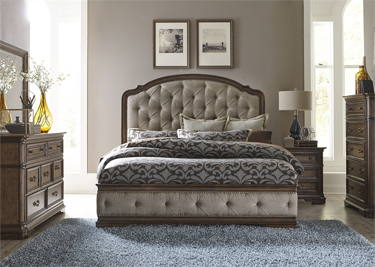 Amelia Upholstered Bed 6 Piece Bedroom Set in Antique Toffee ...