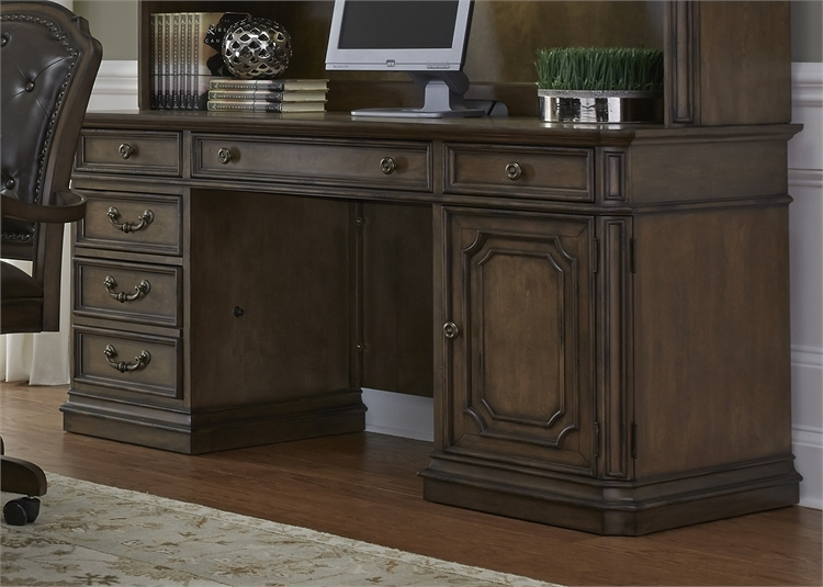 Amelia Jr Executive Credenza Desk And Hutch In Antique