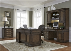 Amelia Jr Executive 5 Piece Home Office Set in Antique Toffee Finish by Liberty Furniture - 487-HOJ-5JES