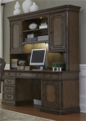 Amelia Jr Executive Credenza Desk and Hutch in Antique Toffee Finish by Liberty Furniture - 487-HOJ-JEC