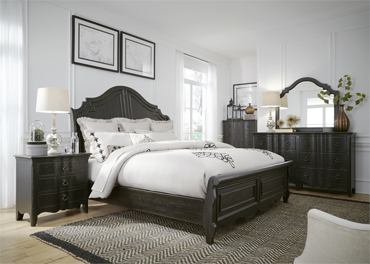 Chesapeake Sleigh Bed 48 Piece Bedroom Set In Wire Brushed Antique Unique Antique Black Bedroom Furniture