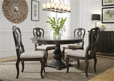 Chesapeake Pedestal Table 5 Piece Dining Set in Wire Brushed Antique Black Finish by Liberty Furniture - 493-DR-5PDS