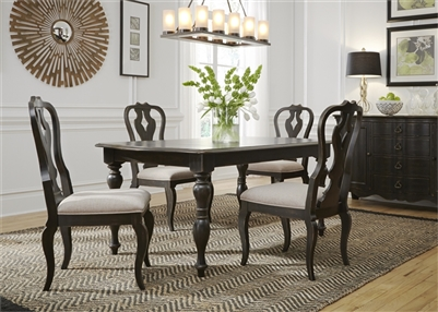 Chesapeake Rectangular Leg Table 5 Piece Dining Set in Wire Brushed Antique Black Finish by Liberty Furniture - 493-DR-5RLS