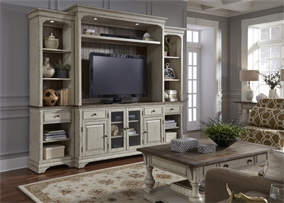 Morgan Creek 4 Piece Entertainment Wall in Antique White Finish with Wire Brushed Tobacco Accents by Liberty Furniture - 498-ENTW-ECP