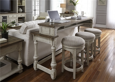 Morgan Creek 4 Piece Console Table Set in Antique White Finish with Wire Brushed Tobacco Accents by Liberty Furniture - 498-OT-4PCS