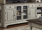 Morgan Creek 68 Inch TV Stand in Antique White Finish with Wire Brushed Tobacco Accents by Liberty Furniture - 498-TV68