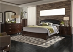 Avalon Upholstered Bed 6 Piece Bedroom Set in Dark Truffle Finish by Liberty Furniture - 505-BR-QB