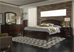 Avalon Panel Storage Bed 6 Piece Bedroom Set in Dark Truffle Finish by Liberty Furniture - 505-BR-QPB