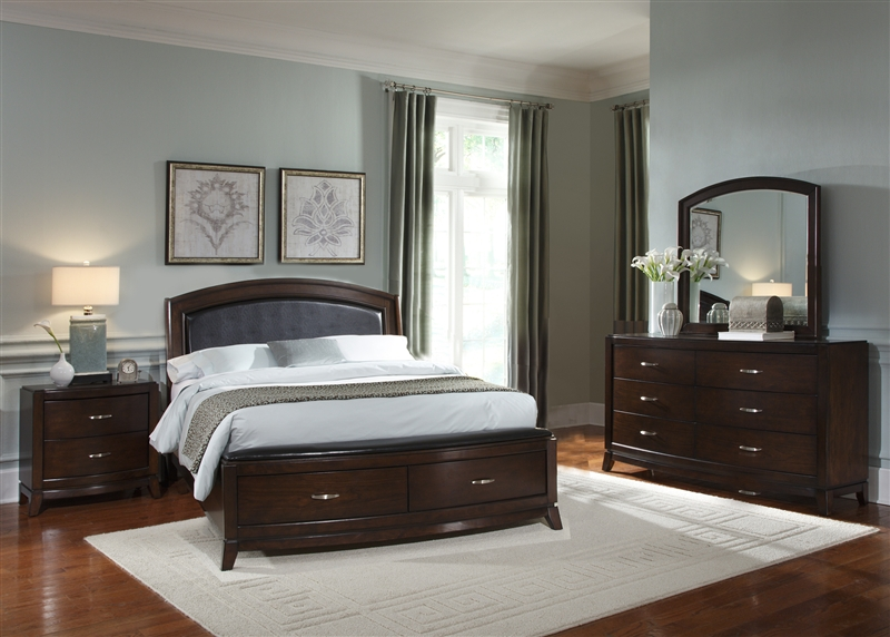 Avalon Upholstered Storage Bed Piece Bedroom Set In Dark Truffle