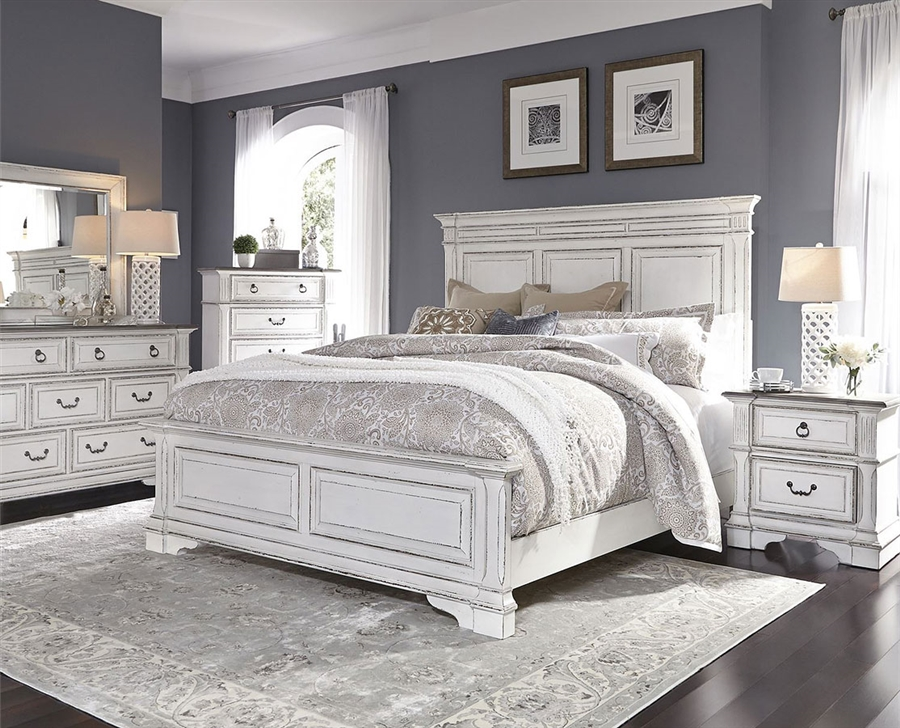 Abbey Park Panel Bed 6 Piece Bedroom Set in Antique White Finish by Liberty  Furniture - 520-BR-QPBDMN