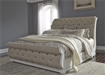 Abbey Park Upholstered Sleigh Bed in Antique White Finish by Liberty Furniture - 520-BR-QUSL