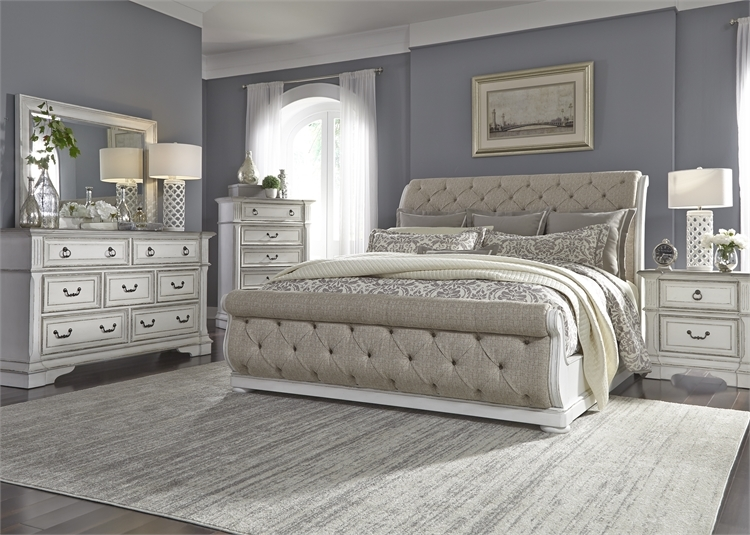 Abbey Park Upholstered Sleigh Bed 6 Piece Bedroom Set in Antique White  Finish by Liberty Furniture - 520-BR-QUSLDMN