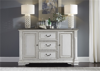 Abbey Park Buffet in Antique White Finish by Liberty Furniture - 520-CB6640