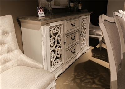 Abbey Park Buffet with Mirrored Panels in Antique White Finish by Liberty Furniture - 520-CB6640M