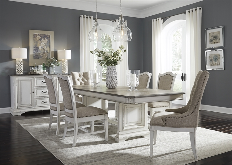 Abbey Park Trestle Table 7 Piece Dining Set In Antique White Finish By Liberty Furniture 520 Dr 7