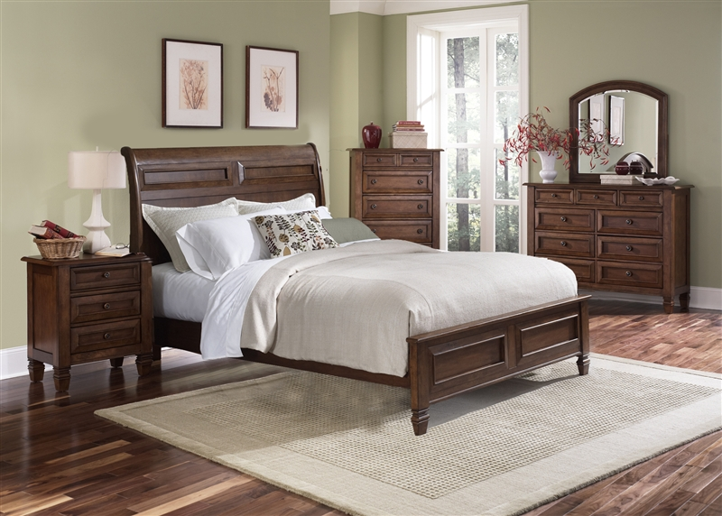 taylor springs sleigh bed 6 piece bedroom set in bronze cherry finish by liberty furniture 521br21f