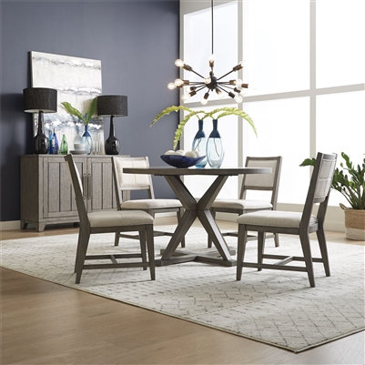 Crescent Creek Round Pedestal Table 5 Piece Dining Set in Weathered Gray Finish by Liberty Furniture - 530-CD-5PDS
