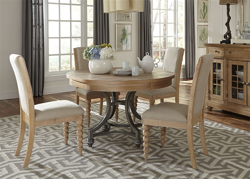 Terrific Harbor View Round Table 5 Piece Dining Set In Sand Finish By Liberty Furniture 531 Dr O5Ros Caraccident5 Cool Chair Designs And Ideas Caraccident5Info