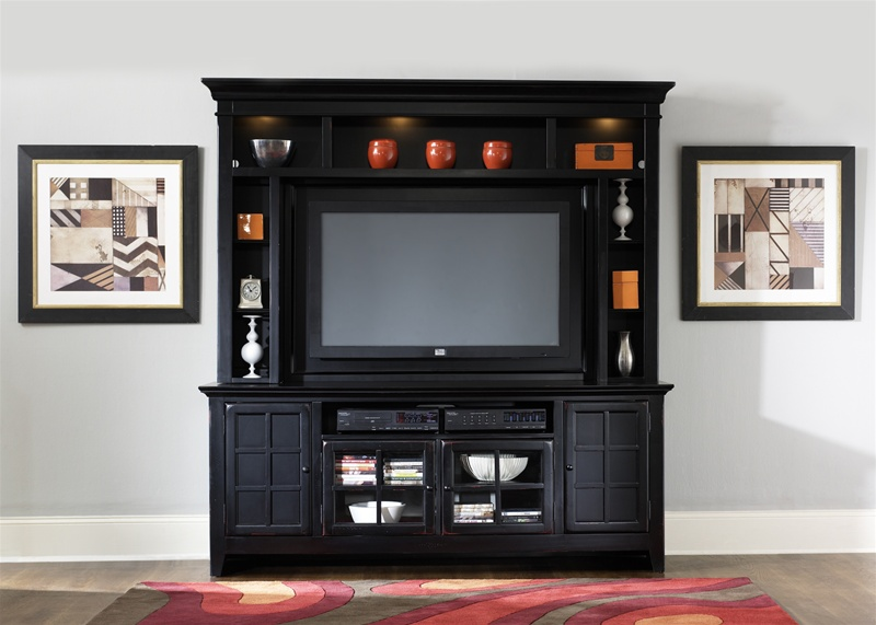 New Generation 50 Inch Tv Entertainment Center In Rubbed Black Finish By Liberty Furniture 540 Ent