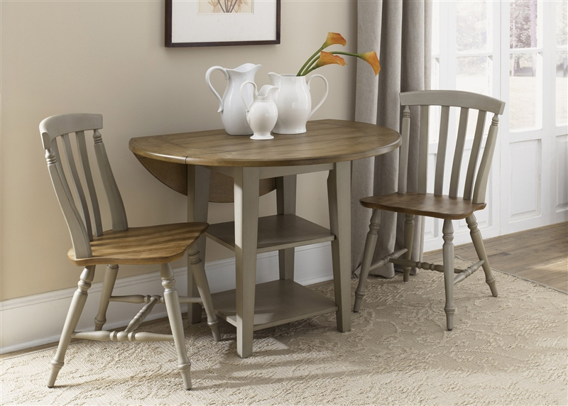 Fresco Drop Leaf Leg Table 3 Piece Dining Set in Driftwood & Taupe ...