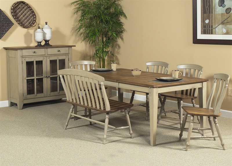 Al Fresco 6 Piece Dining Set In Driftwood Amp Taupe Finish