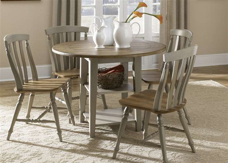 Al Fresco Drop Leaf Leg Table 5 Piece Dining Set In Driftwood U0026 Taupe  Finish By Liberty Furniture   541 T4242