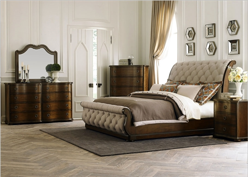 Upholstered Sleigh Bed 6 Piece Bedroom Set in Cinnamon Finish by ...