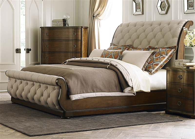 Cotswold Upholstered Sleigh Bed 6 Piece Bedroom Set in Cinnamon ...