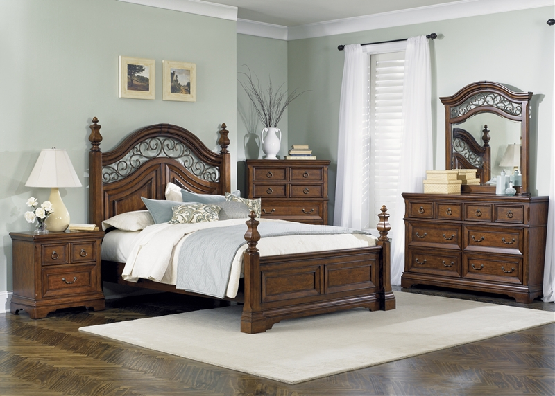 Laurelwood Poster Bed 6 Piece Bedroom Set In Chestnut Finish By Liberty Furniture 547 Br
