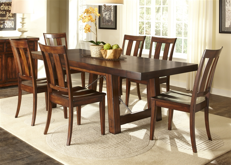 Tahoe Trestle Table 5 Piece Dining Set In Mahogany Stain