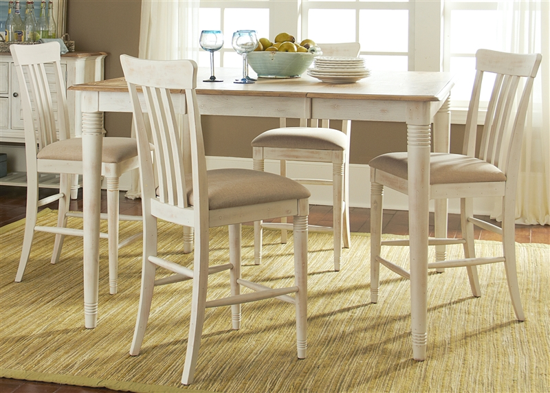 Bluff Cove Gathering Counter Height Table 5 Piece Dining Set In Weathered  Sand U0026 White Two Tone Finish By Liberty Furniture   568 CD 5GTS