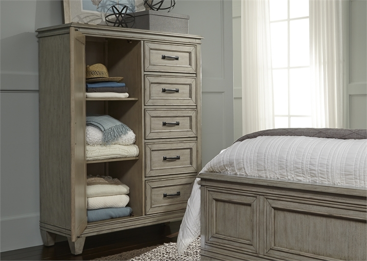 Grayton Grove Panel Bed 6 Piece Bedroom Set In Driftwood Finish By Liberty  Furniture   573 BR