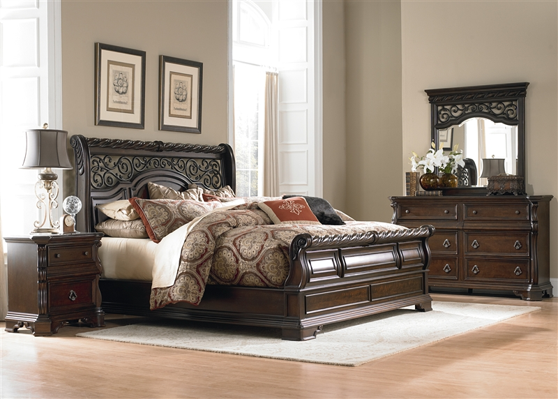 Arbor Place Sleigh Bed 6 Piece Bedroom Set In Brownstone Finish By