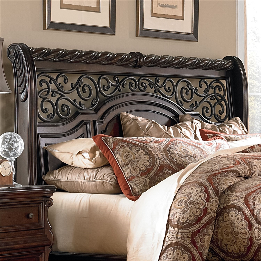 Arbor Place Sleigh Bed Piece Bedroom Set In Brownstone Finish By